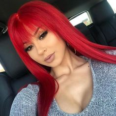 Red Pink Hair, Dyed Hair Purple, Hair Color Pink, Red Hair Images, Red Hair With Bangs, Dark Burgundy Hair, Light Red Hair, Light Blue, Red Lace Front Wig