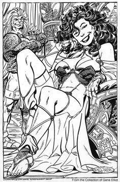She-Hulk &Mahkizmo commission by John Byrne. 2006.