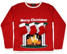 Amazon.com: Ugly Christmas Sweater - Lighted LED Fireplace Sweater with 3-D Stockings by Skedouche: Clothing