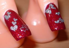Valentine art | sharihearts: Red and Silver Valentine's Day Nail Art