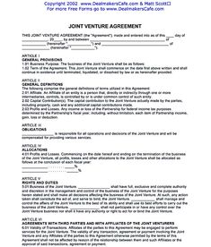 Joint Venture Agreement Document  Joint Venture Agreement