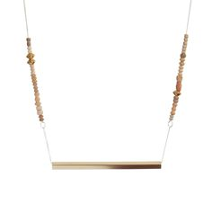 Thin Bar Necklace with Clay Beads