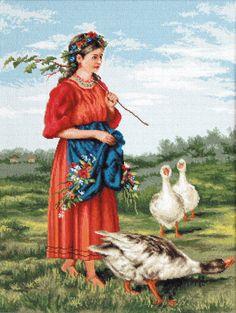 Chica con gansos