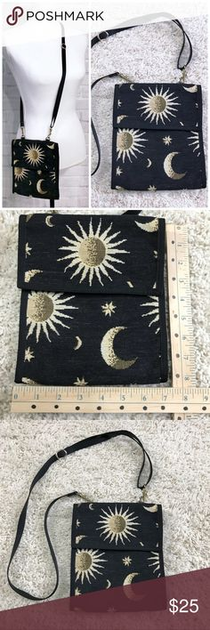 Handmade celestial tapestry crossbody purse Good vintage condition Unique organization  Moon & stars theme  See measurements!  Bundle for 10% off. No trades or holds. Ships the same or next day from a smoke free, cat friendly home in California! ❤️ Vintage Bags Crossbody Bags