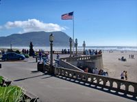 Seaside, Oregon - where the Lewis & Clark expedition turned around and went home.  Pictured is Turnabout Point.