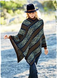 A global-chic perspective on cool-weather dressing: our soft alpaca poncho is handloomed in Andean pattern striping. Hued in shades of midnight, maple, sage and sky, the pullover style has a v-neck and pointed asymmetrical hem. #peruvianpicks