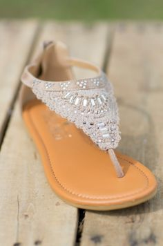 Chics in the City Sandals - Taupe - Rhinestone Sandals - Crochet Sandals