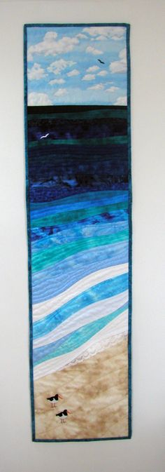 """Atlantic Shore quilt, 12 x 56"""", by Callicvol Quilts, Outer Hebrides, Scotland.  I want to be there."""