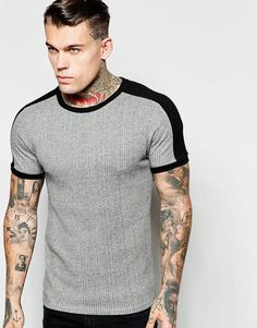 ASOS Muscle T-Shirt In Rib With Contrast Detail In Gray