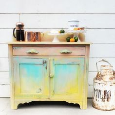 I have been painting furniture for about 8 years and I always love to challenge myself with new techniques and styles! This time I decided to use some yellow (which I never use for some reason) and blend in other bright colors as well for a festive and funky look! Prep work I started by removing all of the hardware, cleaning thoroughly, and lightly sanding the entire piece. I don't use any kind of primer when painting for a few reasons. First, the paint I usually use is a clay based p Kitchen Cabinet Crown Molding, Diy File Cabinet, Upcycled Furniture, Painted Furniture, Upscale Furniture, Furniture Refinishing, Shaker Style Cabinet Doors, Funky Wallpaper, Fabric Wallpaper