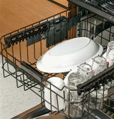 With adjustable racks, our GE Cafe Series Dishwasher can easily adapt to the size of the mess.