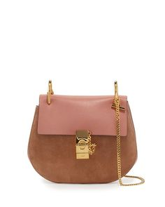 97e82e916b7 Drew Leather & Suede Shoulder Bag Rose. Bruine Lederen HandtassenChloe ...