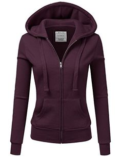 Doublju Lightweight Thin Zip-Up Hoodie Jacket for Women with Plus Size Burgundy Small Stylish Outfits, Winter Outfits, Cute Outfits, Anorak Jacket, Sweater Jacket, Cute Jackets, Jackets For Women, Mode Unique, Teen Fashion