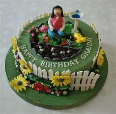 Cake is for a lady turning to 70 today and who also loves gardening. Its just remind me my mother and her beautiful garden in Istanbul. Garden Theme Cake, Garden Birthday Cake, Garden Cupcakes, 70th Birthday Cake, Birthday Cakes For Women, Mom Birthday, 50th Cake, Birthday Cupcakes, Fondant Figures