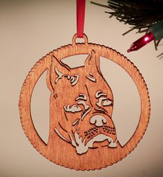 I Love My Boxer Boxer Doggie Christmas Ornament. Boxer by The Laser Place, $6.00