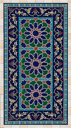 Tiles and stone mosaic wall art decor, traditional Islamic art, ready to hang - Cultural Architecture Islamic Art Pattern, Pattern Art, Arabic Pattern, Mosaic Wall Art, Tile Art, Wall Tiles, Cultural Architecture, Art And Architecture, Turkish Architecture