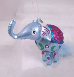 RADKO TINO Circus Elephant Italian Glass Ornament NEW Feather Accent