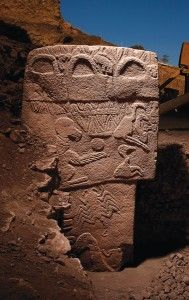 """On a hill known as Göbekli Tepe (""""Potbelly Hill"""") in southeastern Turkey, archaeologists have uncovered several large megalithic enclosures that date between 10000 and 8000 B.C.E., the dawn of civilization and the Neolithic age."""