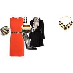 orange dress, created by klkinnison