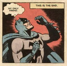 """[A comic panel: Batman looks stunned, and thinks, """"This ain't rock 'n' roll!"""" A caption above asserts, """"This is genocide! Book Art, Comic Books Art, Comic Art, Old Comics, Vintage Comics, Funny Comics, Retro Vintage, Bd Pop Art, Tv Movie"""