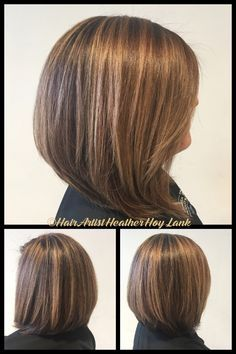 Dimensional brunette inverted bob with highlights for spring/summer