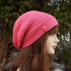 Rose Pink Slouch Beanie  Womens Slouchy by ColorMyWorldCrochet