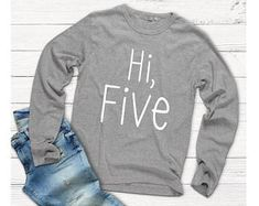 Hi Five - Five Year Tee - Long Sleeve Shirt - Boy Shirt - 5th Birthday Gift - Boy Outfit - Girl Outfit - Five years old - Birthday Shirt