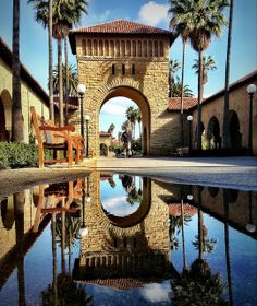 Reflection of arch in Stanford University, | http://amazingcolorfulrainbows.blogspot.com