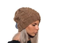 Hand knitted cable hat  camel brown knit hat winter by elenis4you