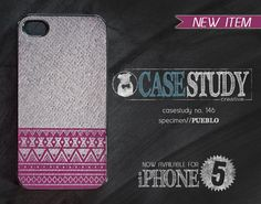 """iPhone 4 or iPhone 5 Case - """"Pueblo"""" - A fuchsia pink southwestern tribal pattern over a gray fabric inspired texture. on Etsy, $18.00"""