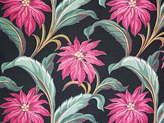 Vintage Pink Black Tropical Barkcloth by Niesz Vintage Fabric