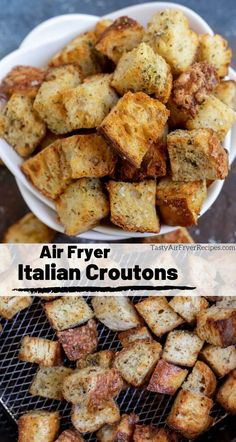 The best croutons are air fried! These Air Fryer Homemade Croutons are crisp, f. - The best croutons are air fried! These Air Fryer Homemade Croutons are crisp, flavorful and as wit - Air Fryer Recipes Snacks, Air Fryer Recipes Vegetarian, Air Fryer Recipes Breakfast, Air Frier Recipes, Air Fryer Dinner Recipes, Snack Recipes, Cooking Recipes, Easy Recipes, Cooking Tips