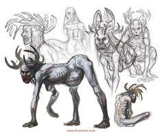 Wendigo Concepts Mythological Creatures, Mythical Creatures, Fantasy Creatures, Monster Art, Monster Design, Creature Design, Creature Feature, Character Art, Character Design