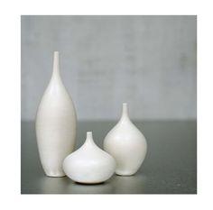 Tiny Trio of White Matte Stoneware Bottles