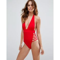 ac49f1a0f8 ASOS Ultra Strappy High Leg Cut Out Plunge Swimsuit (€41) ❤ liked on