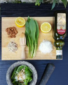 wild garlic pesto - the set up