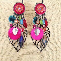 """Boucles Ikita Paris """" Clip """" shoppingnet.fr Boucles d'oreilles Clips - Rouge & Fuchsia. Création Ikita Paris - Bijoux Fantaisies"""