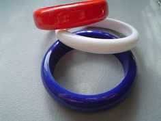 Vintage Bangle Bracelets Three  Red White and by VintageJewelryEtc, $13.00