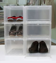 These clear shoe boxes enable you to build your shoe storage as high as you want without disturbing the tower when you need access. & 17 best Shoe Storage images on Pinterest | Shoe storage Shoe cubby ...