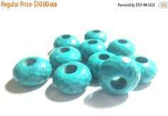 AAA Quality Chinese Turquoise Faceted Fancy Stylist Roundel Big Hole Beads,Handmade Beads,10 Piece 14x8 MM With 5 MM Hole-Free Shipping    You will receive the exact item as pictured    Details:  Type: AAA Chinese Turquoise   Size/Measurements: 8x14 mm  Cut: Rondelle Faceted Beads With 5 MM hole  You will receive: 10 stone 5 match pair    *************************************************************************************    we love custom orders, If you want anything that you don't find at…