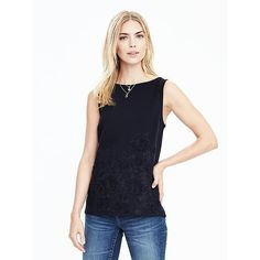 Banana Republic Womens Embroidered Floral Sleeveless Top ($78) via Polyvore featuring tops, preppy navy, beaded tank top, beaded tank, white sleeveless top, navy blue tank and floral tops