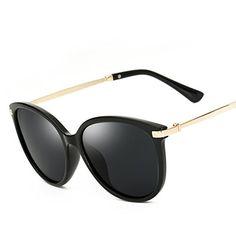 1bea8f5d428 Amazon.com  Polarized Flash Lens Black Plastic Frame Women Men Fashion  Oversized Sunglasses (Black Frame Black