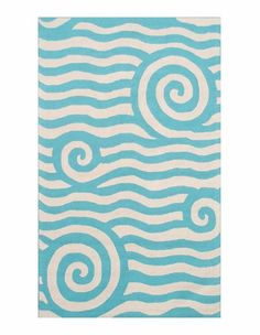 Love this for the room. Perfect for the Caribbean theme. Looks like the ocean!!! Yala Blue & White Outdoor Rug