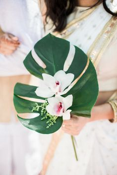 Tropical Meets Boho in This Tulum-Inspired Hindu + Jewish Wedding Tropical Wedding Bouquets, Tropical Wedding Decor, Beach Wedding Centerpieces, Beach Wedding Flowers, Wedding Flower Arrangements, Hawaii Wedding, Wedding Decorations, Tropical Flower Arrangements, Beach Wedding Locations