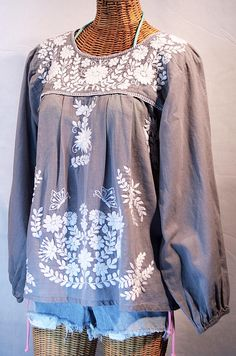 Mexican Peasant Blouse Top Hand Embroidered La by Sirenology, $48.95