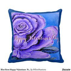 Blue Rose Happy Valentines  Pillow