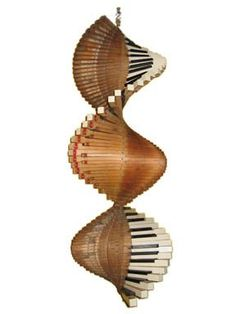 This hanging sculpture is from an old, English birdcage-action piano. It is Keys made by Sergeant and signed B. Piano Crafts, Music Crafts, Music Decor, Piano Art, Piano Room, Vieux Pianos, Music Furniture, Mobiles, Old Pianos