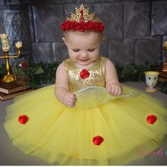 Princess Belle tutu dress made by Belle Threads. Belle Tutu, Princess Belle Dress, Disney Princess Outfits, Baby Belle Costume, Royal Princess, Baby Princess, Beauty And Beast Birthday, Beauty And The Beast Party, Baby Girl Dresses