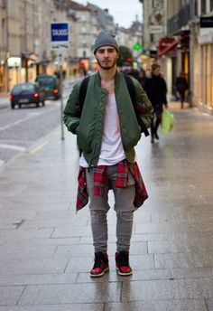 overdeauxis: princeinjeans: Nicolas Lauer Wears : - LANOIR ripped Denim - Ma1 Alpha Bomber - Air Jordan 1 Bred - Ralph Lauren Shirt Follow Overdeauxis, The Streetfashion Bible!