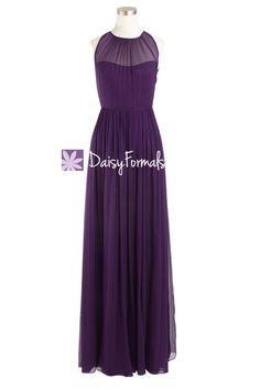 Dark Plum Bridesmaid Dress Sleek Illusion Neckline Vintage Evening Dress (BM5197L)